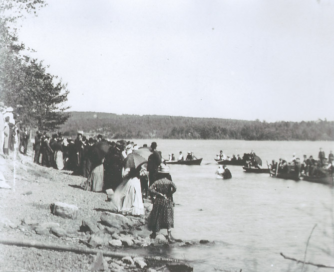Outdoor baptism, 1st Lake (Lake Banook), Dartmouth