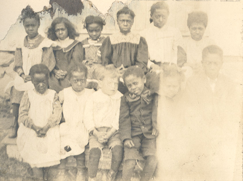 ''School at Five Mile Plains where Miss DeWolf taught around 1912''
