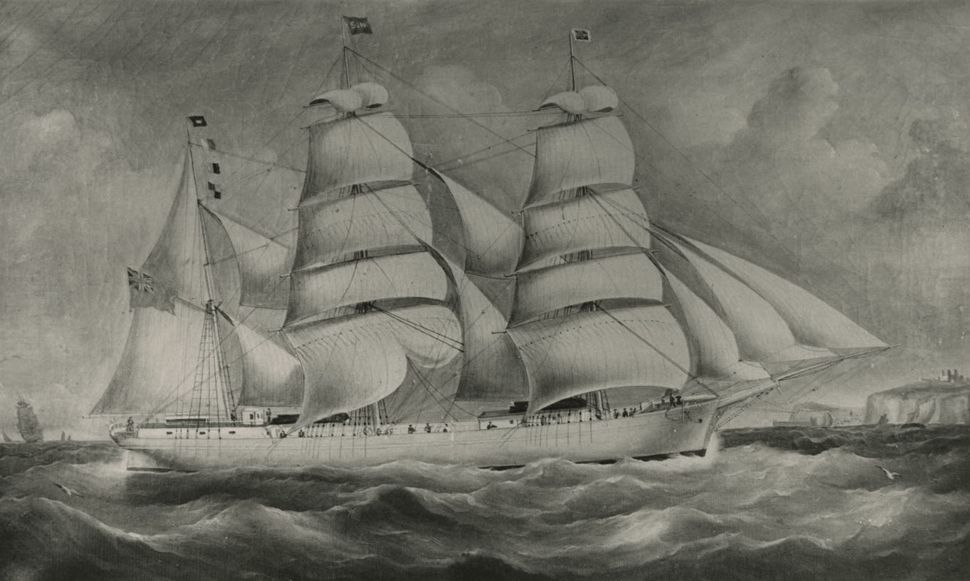Barque <i> Scotts Bay </i>, built in 1875 at Scotts Bay by J.E. Steck; sailed by Capt. George Murray of Hantsport, Nova Scotia; at Attleboro, Massachusetts (painting)