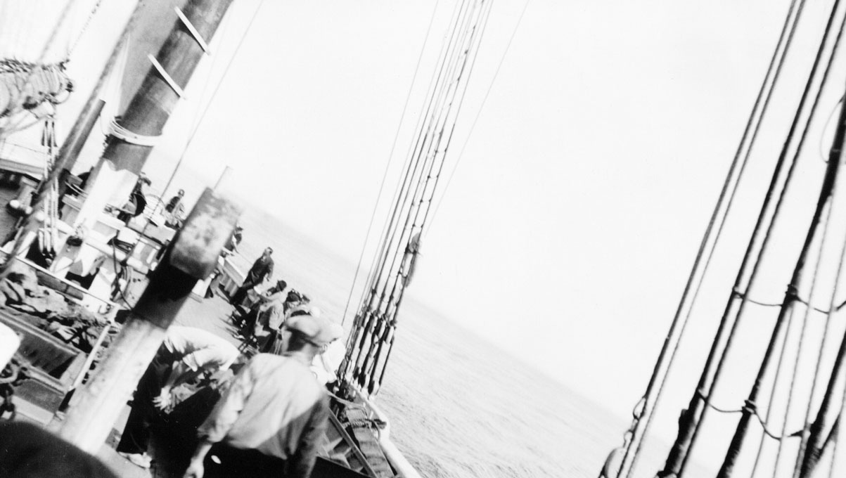 Passengers on the deck of <i>Bluenose</i>