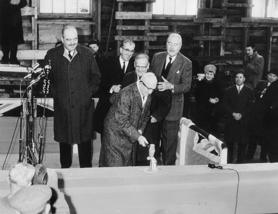 Driving first spike in keel of <i>Bluenose II</i>, 27 February 1963