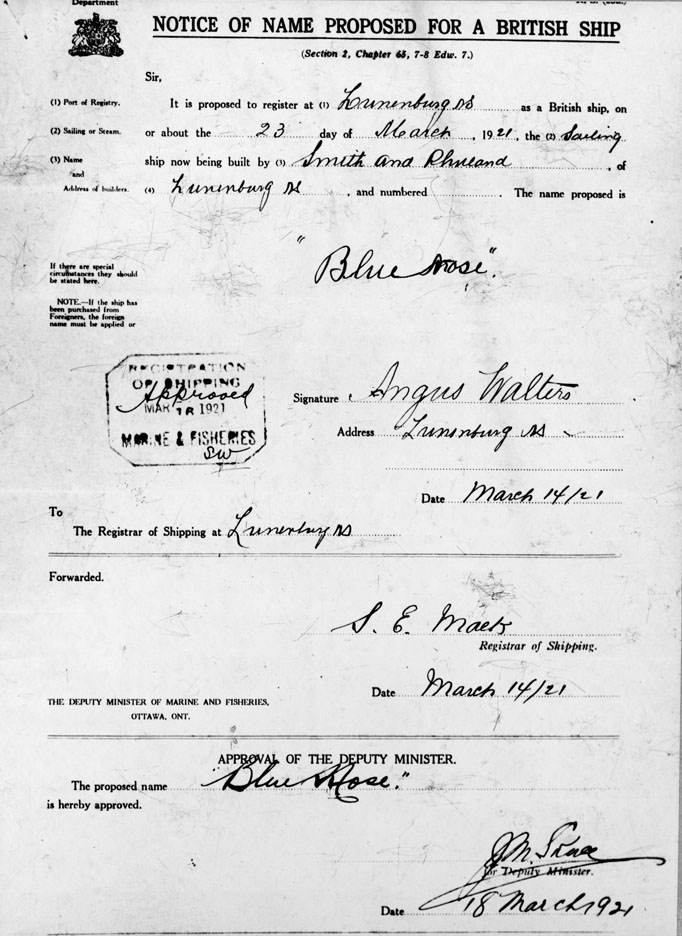 Notice of Name Proposed for a British Ship
