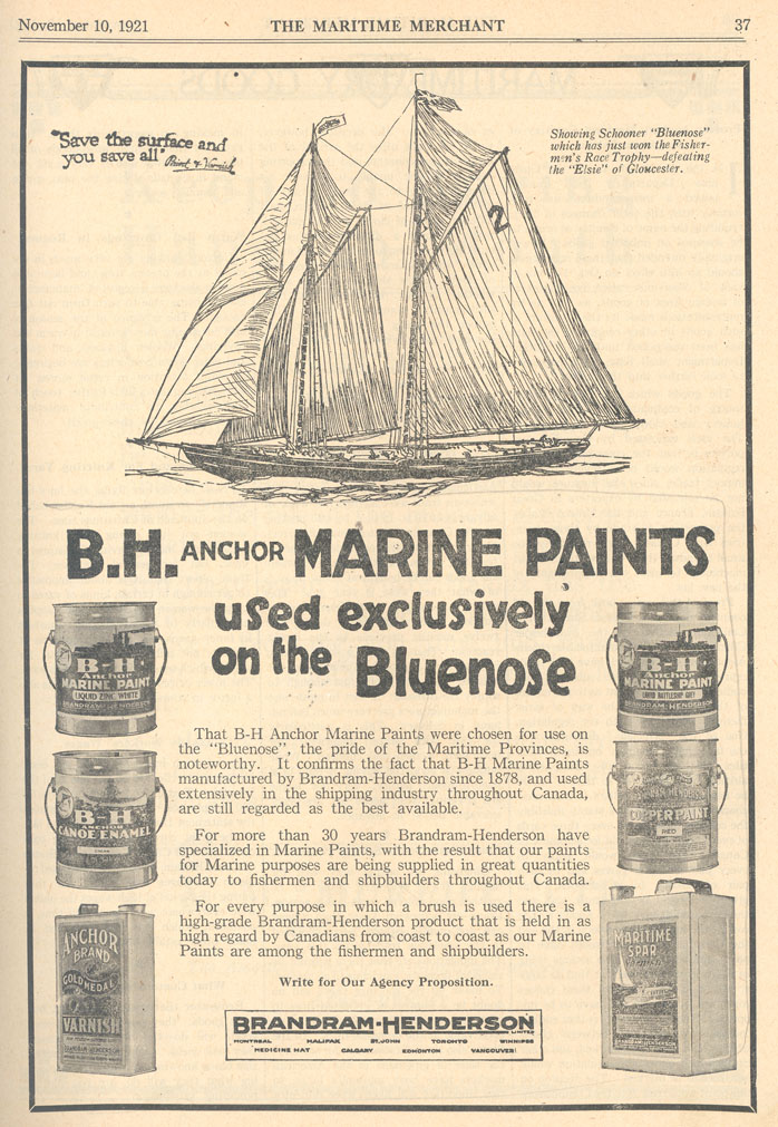 B.H. Anchor Marine Paints used exclusively on the <i>Bluenose</i>