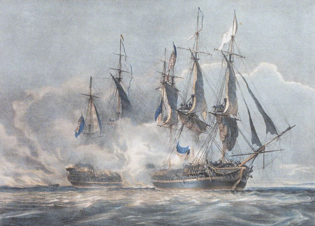 ''The American Frigate <i>Chesapeake</i> crippled and thrown into utter disorder by the two first broadsides fired from HMS <i>Shannon</i>''