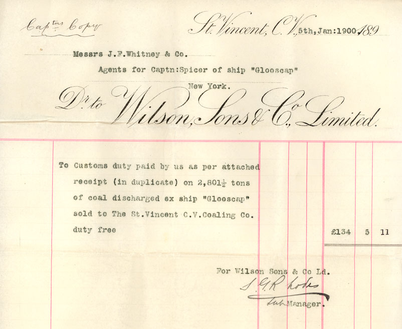 Receipt, Wilson, Sons & Co. Ltd., St. Vincent to Messrs. J.F. Whitney & Co., agents for Captain Spicer, ship <i>Glooscap</i>, 5 January 1900