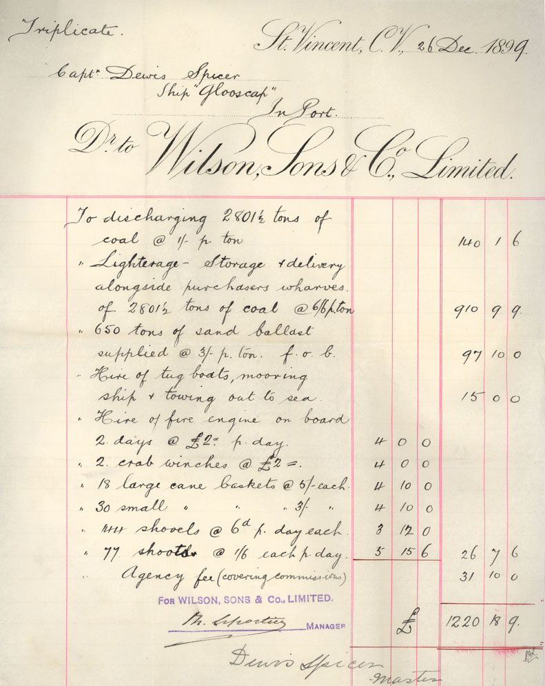 Invoice,  Wilson Sons & Co. Ltd., St. Vincent to Captain Dewis Spicer, ship <i>Glooscap</i>, 26 December 1899