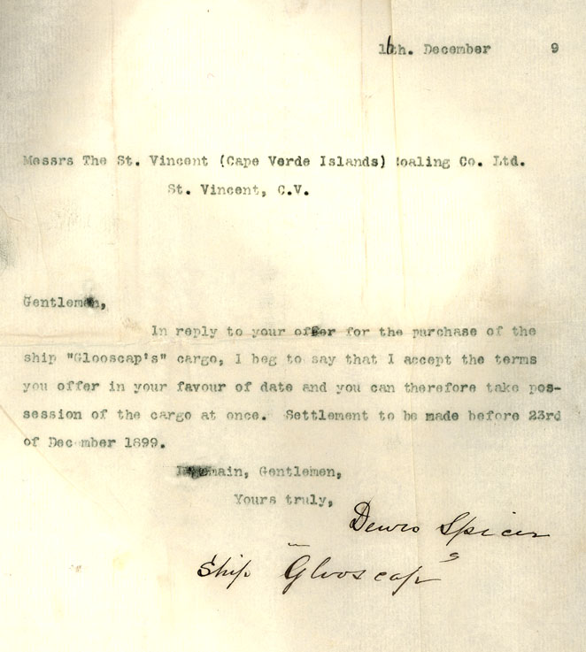 Letter, Captain Spicer, ship <i>Glooscap</i>, to The St. Vincent Coaling Co. Ltd. 16 December 1899