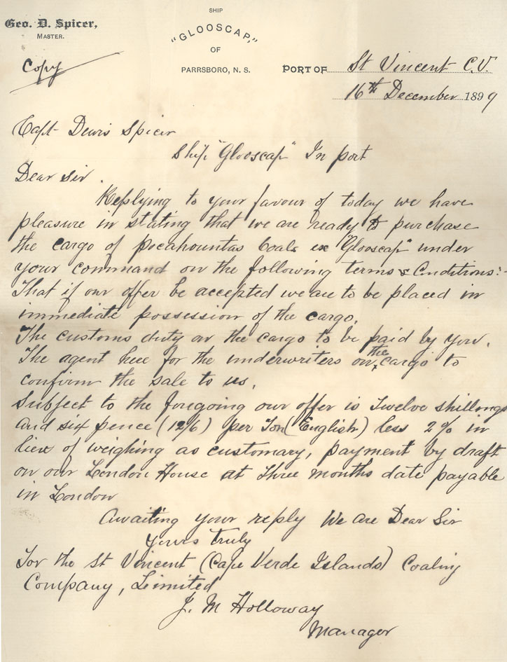 Letter, St. Vincent Coaling Company Ltd. to Captain Dewis Spicer, 16 December 1899