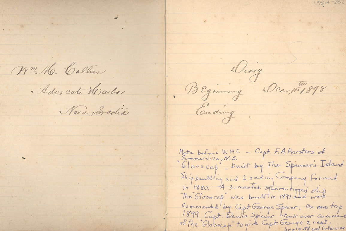 Diary of William Collins, 1899 and 1890
