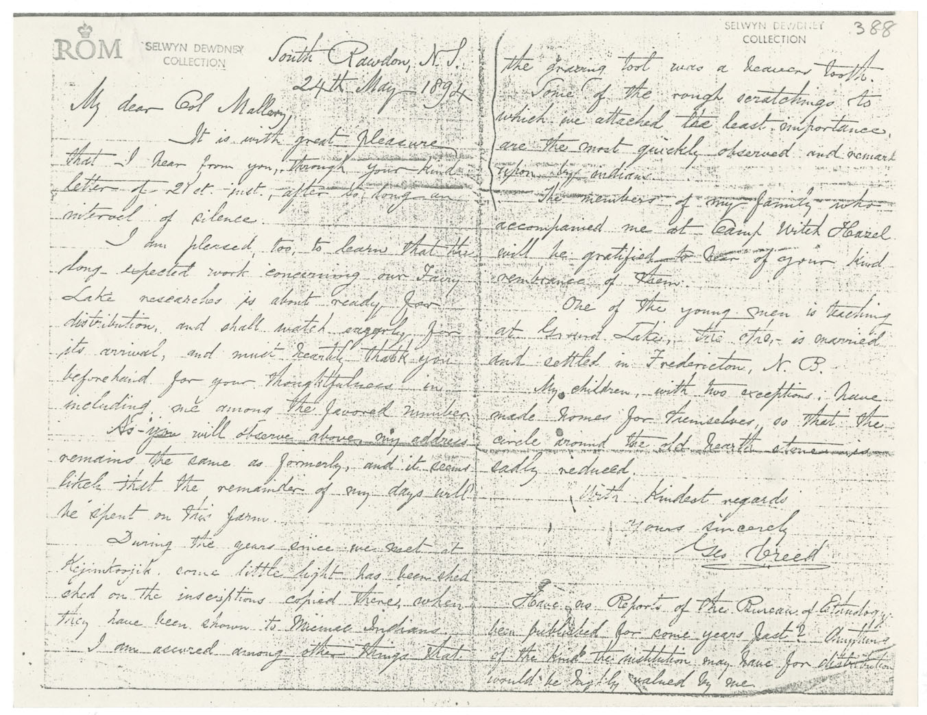 Letters from George Creed to Colonel Garrick Mallery outlining Creed's progress gathering the petroglyphs