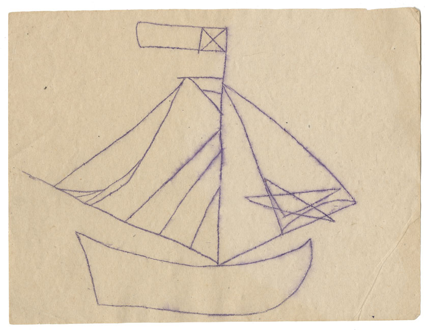 Tracing of a petroglyph of a single-masted vessel (ship's boat)