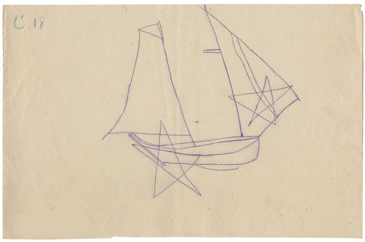 Tracing of a petroglyph of a schooner with its jib and mainsail set, superimposed with stars