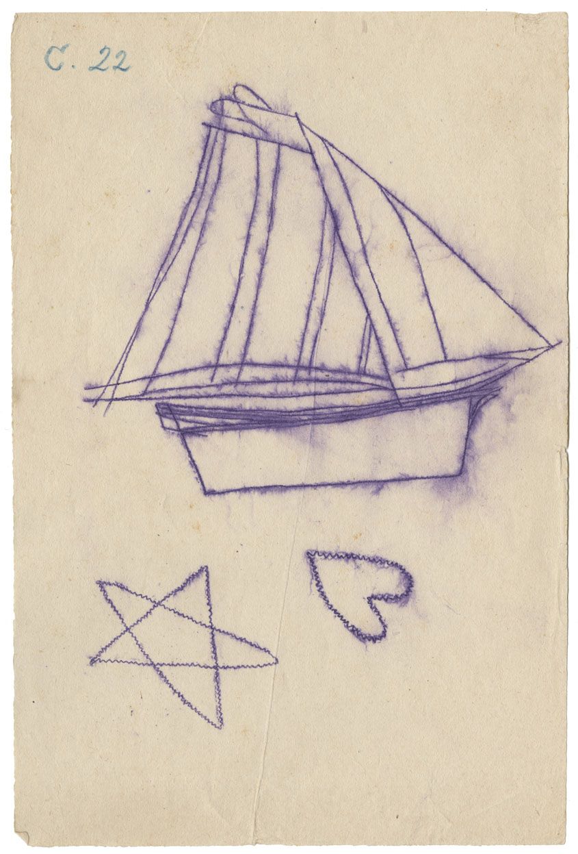 Tracing of a petroglyph of a gaff-rigged sloop