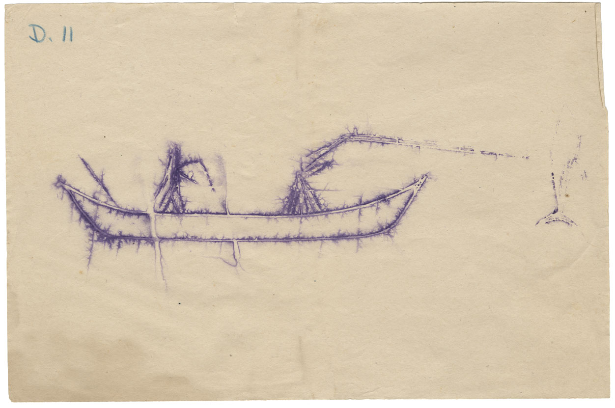 Tracing of a petroglyph of a human figure in a canoe lancing a fish