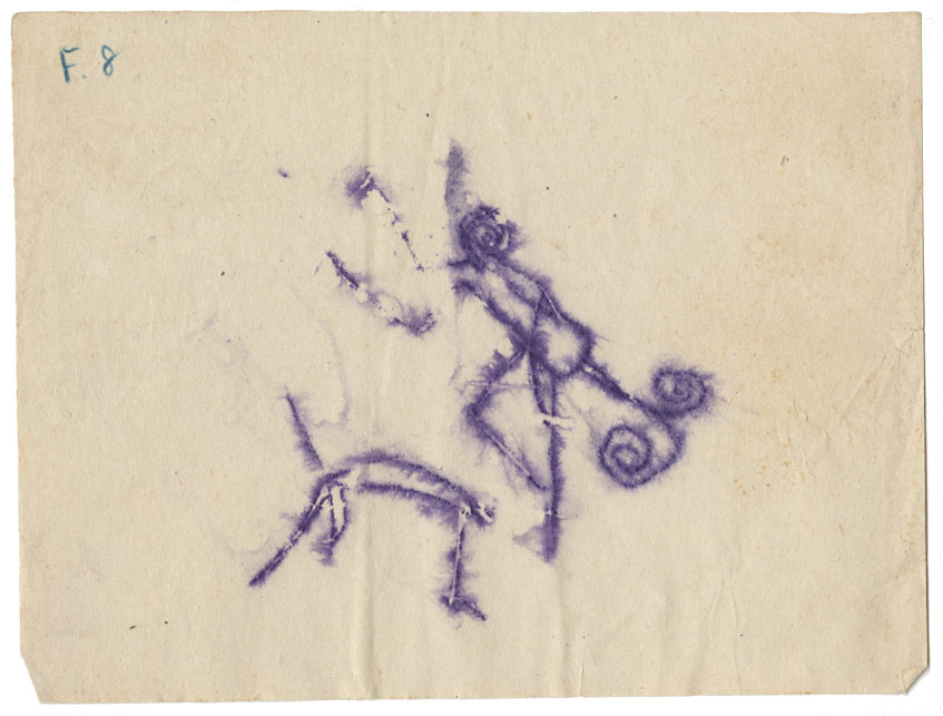 Tracing of a petroglyph of two animals, possibly mantises