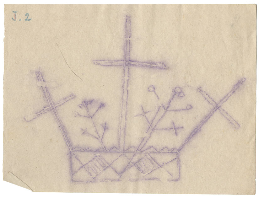 Tracing of a petroglyph of a rectangular base holding three crosses and two branch-like objects