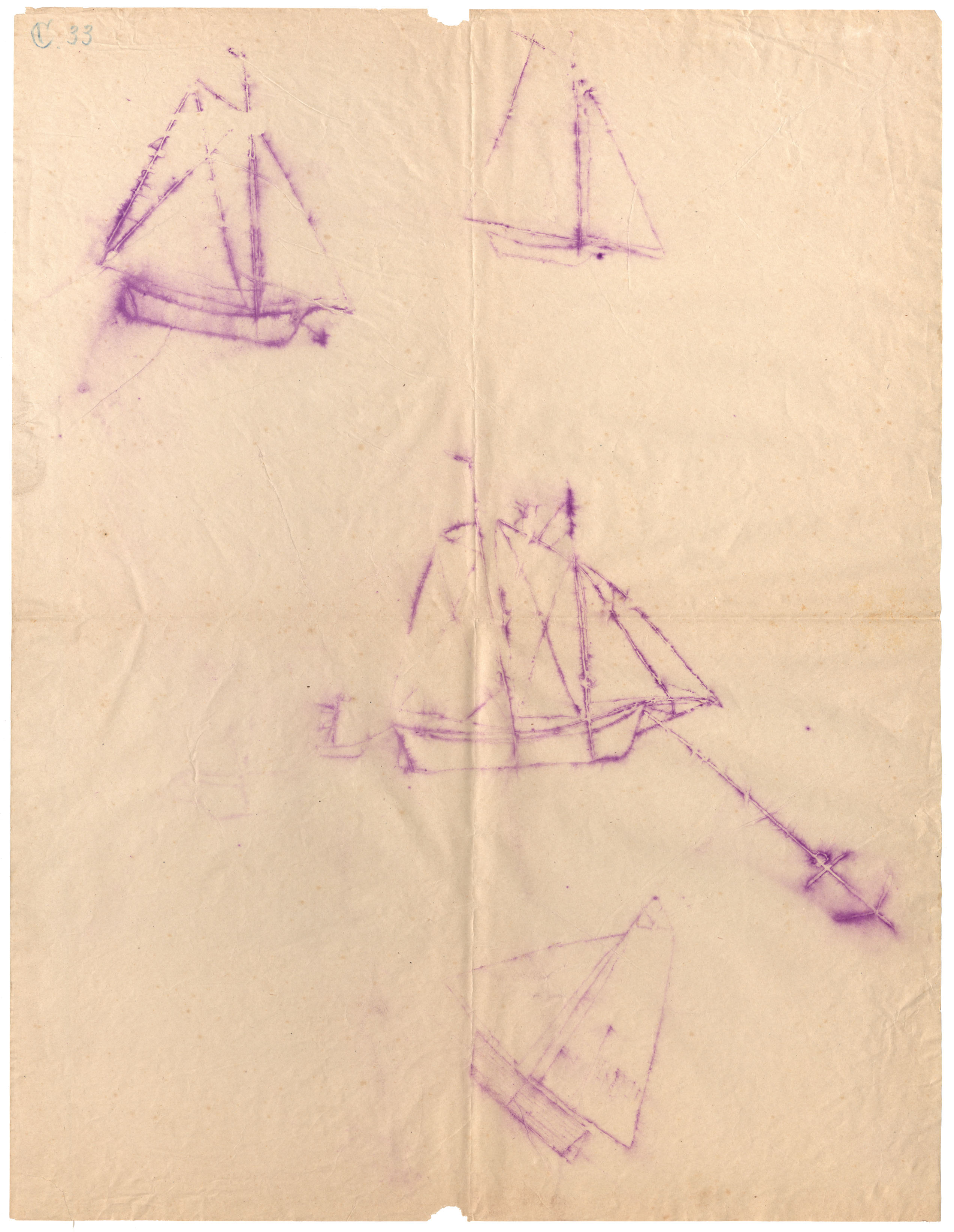 Tracing of petroglyphs of four different boats, one with a dropped anchor
