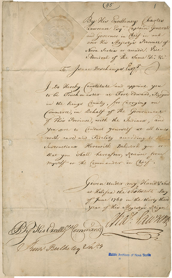 Isaac Deschamps' appointment as Truckmaster at Fort Edward, Windsor, Nova Scotia
