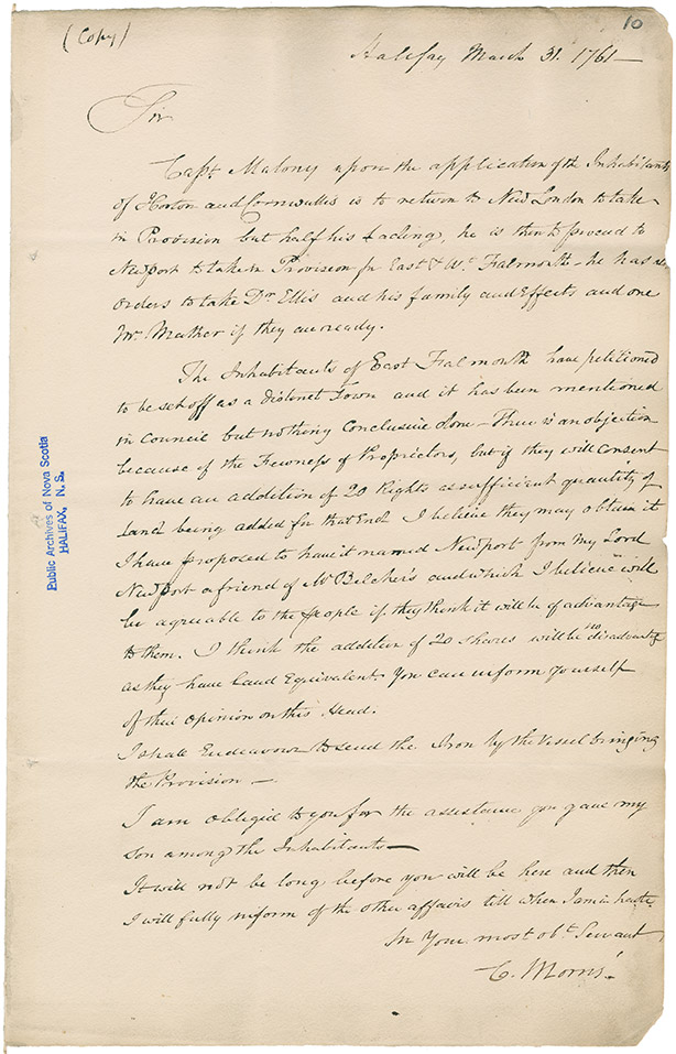 Copy of a document drafted by Charles Morris and sent to Isaac Deschamps regarding the establishment of Newport, Nova Scotia
