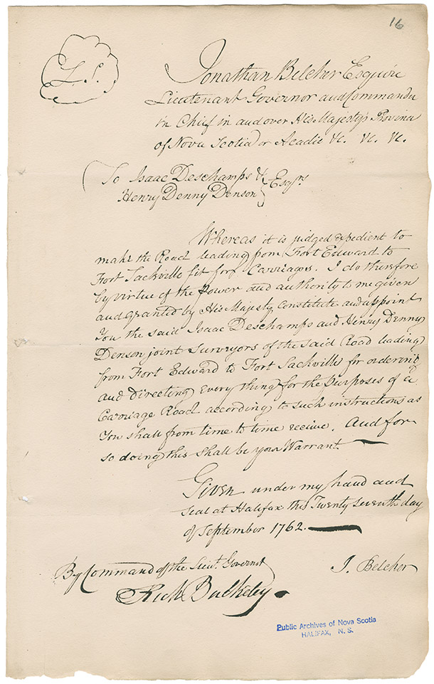 Copy of a letter sent to Isaac Deschamps and Henry Denny Denson by Lieutenant-Governor Jonathan Belcher appointing them as joint surveyors of the proposed road from Ford Edward, Windsor to Fort Sackville in Nova Scotia