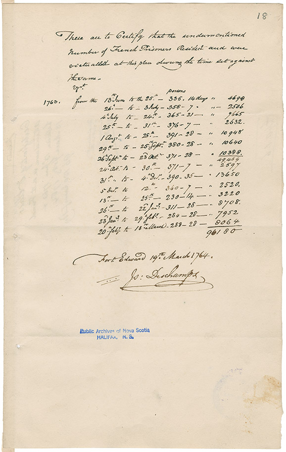 Number of French prisoners kept and victualled at Fort Edward, Windsor, Nova Scotia between 13 June 1763 and 18 March 1764