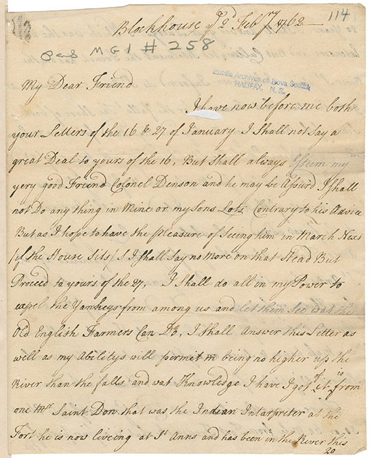 Letter sent to an unidentified individual providing a description of the St. John River signed by [S Watmough?]