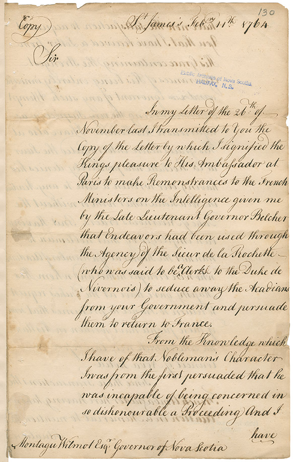 Copy of a letter from Lord Halifax to Governor Montagu Wilmot regarding the Acadians