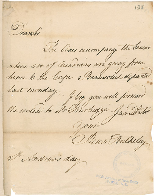 Letter from Richard Bulkeley concerning the departure of five hundred Acadians to Cape Beausoleil