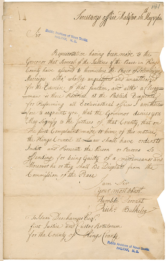 Letter from Richard Bulkeley, Secretary's Office, Halifax, to Isaac Deschamps stating that Justices of the Peace are not to perform marriages