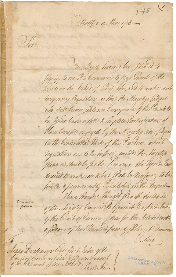 Letter sent from Michael Francklin, Halifax, Nova Scotia providing instructions to Isaac Deschamps regarding an appointment as superintendant for Prince Edward Island and what was required in that position