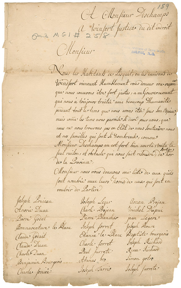 A series of petitions sent to M. Deschamps from Acadians in the vicinity of Pizquit / Windsort [Windsor, Nova Scotia]