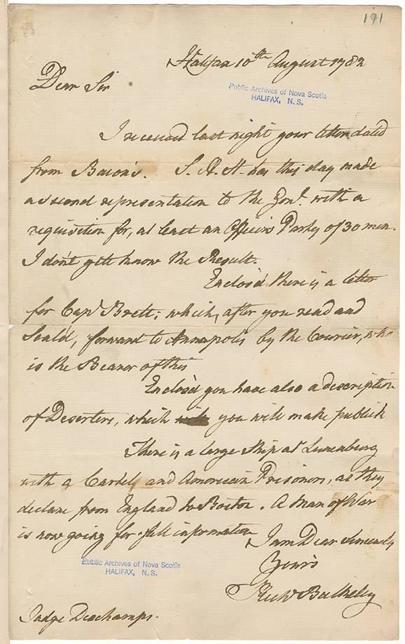 Letter from Richard Bulkeley to Isaac Deschamps regarding a requisition of 30 men, and details of prisoners at Lunenburg