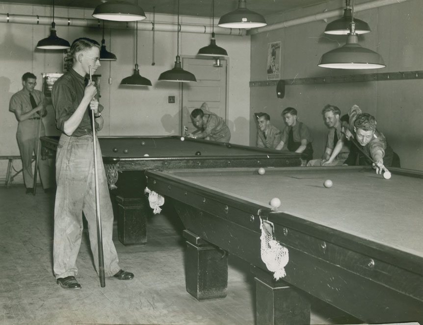 Pool game in the Recreational Hall of RCAF Station Dartmouth