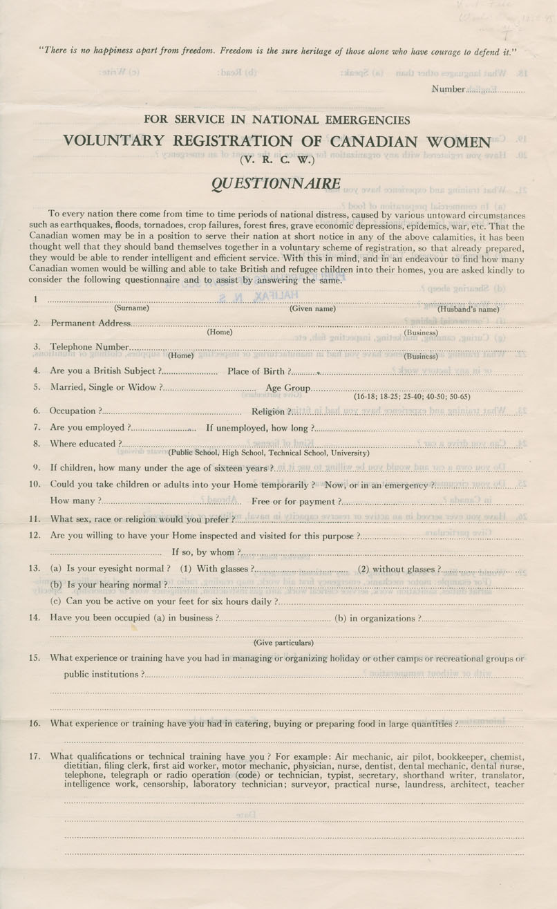 Voluntary Registration of Canadian Women Questionnaire