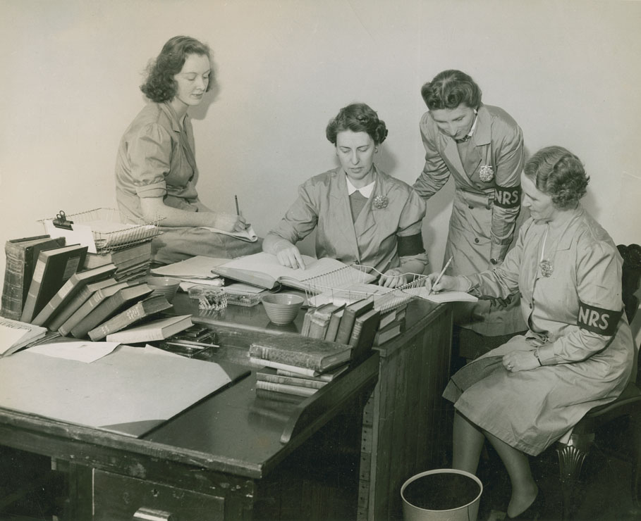 Elaine Tilly, Jean Gow, Claire Sandey and Irene Griffiths of the Naval Reading Service