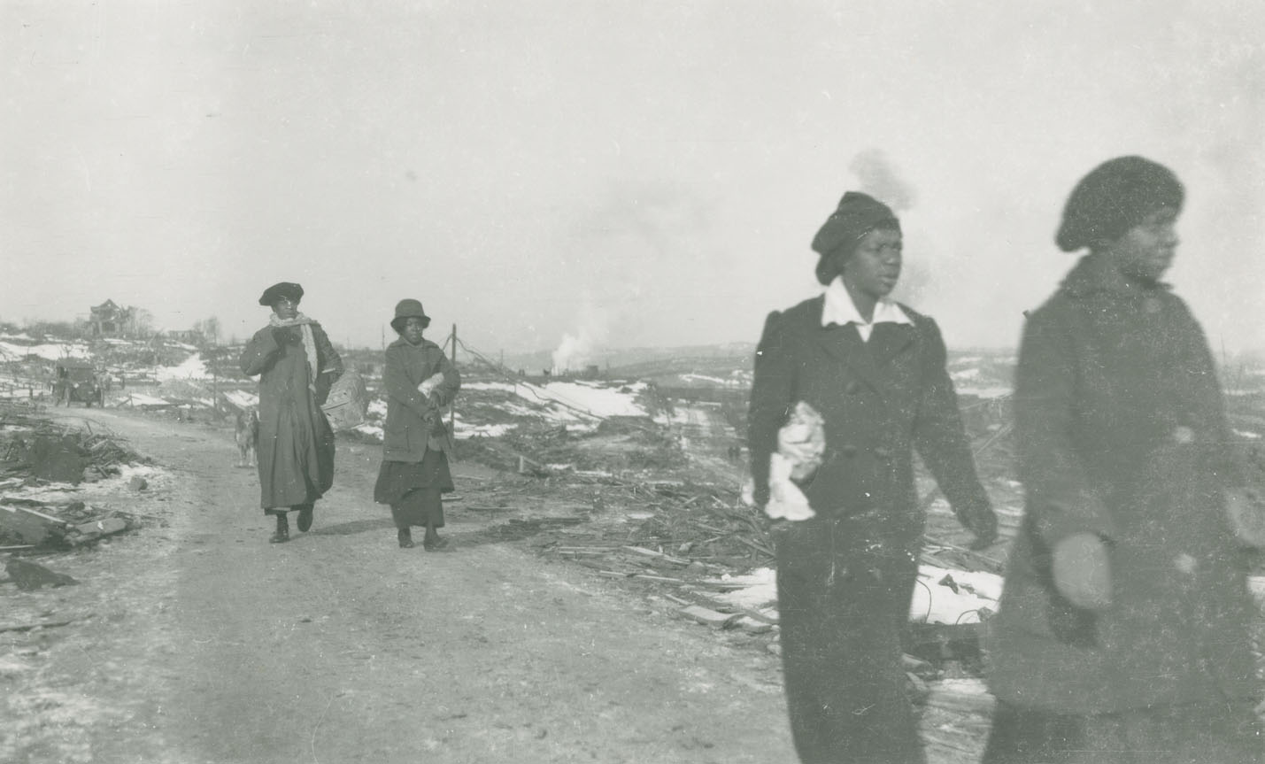 explosion : Women walking from Africville towards Halifax, on Campbell Road near Hanover Street