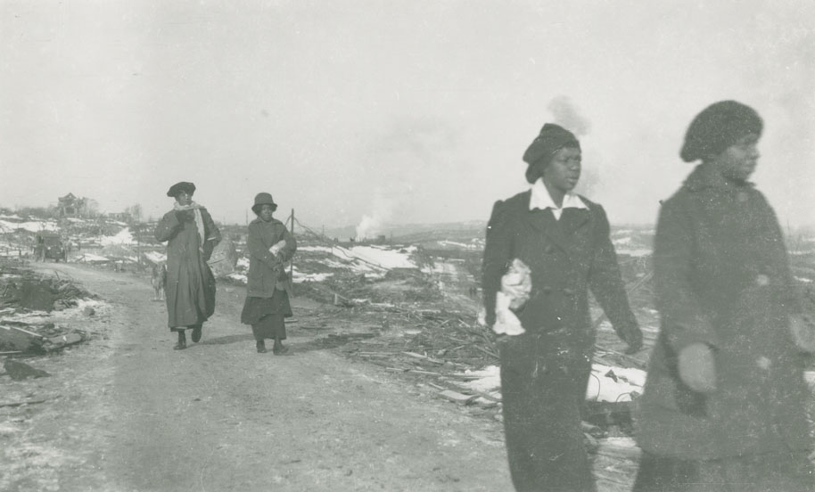 halifax : Women walking from Africville towards Halifax, on Campbell Road near Hanover Street, 1917 or 1918