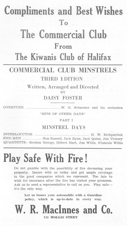 Minstrels of '31 Programme, Commercial Club of Halifax