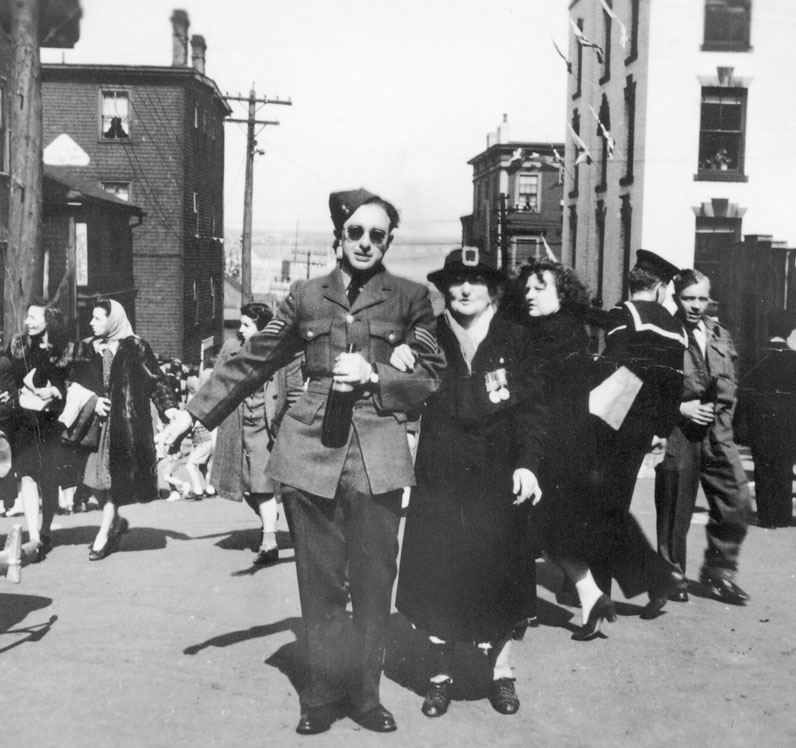 V-E Day Rioters Walking along Salter Street between Hollis and Barrington Streets, May 1945