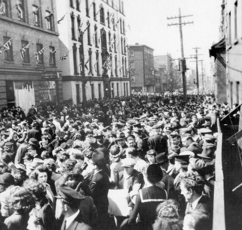 V-E Day Rioters on Hollis Street between Blowers and Bishop Streets, May 1945