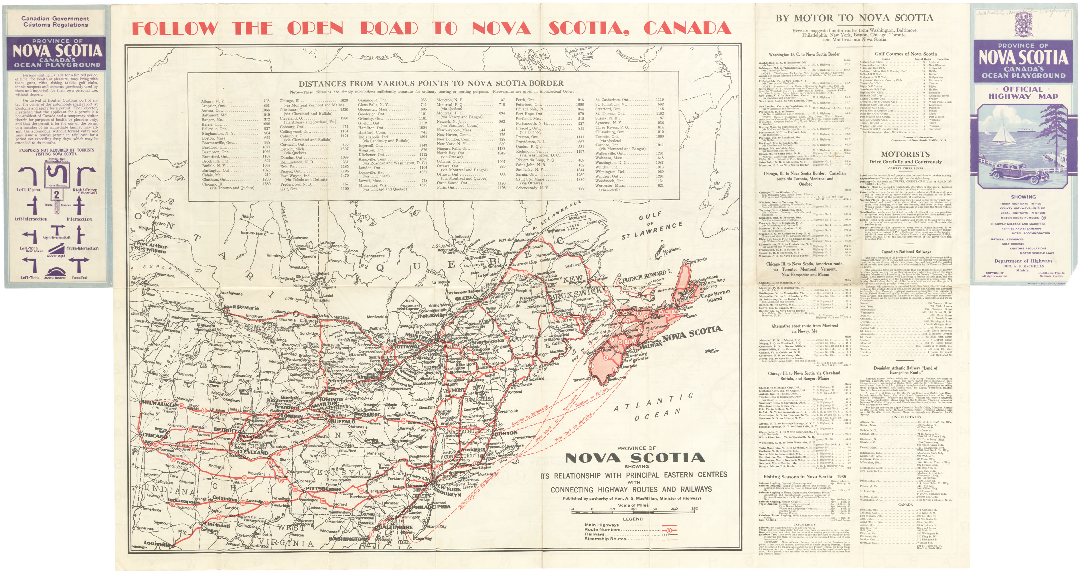 Official Highway Map, published by the Department of Highways, Nova Scotia