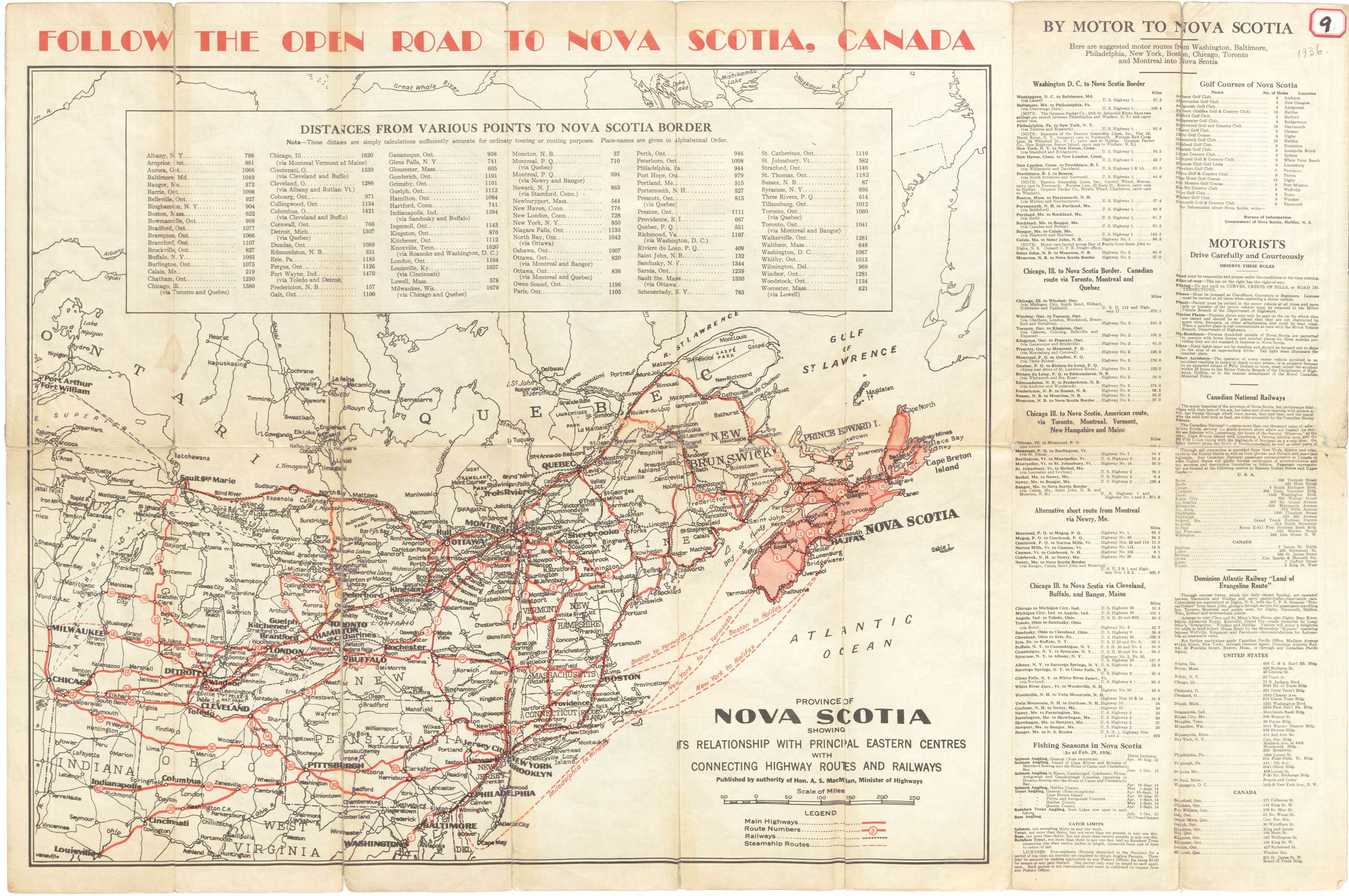 Highway Map Nova Scotia, published by the Department of Highways, Nova Scotia