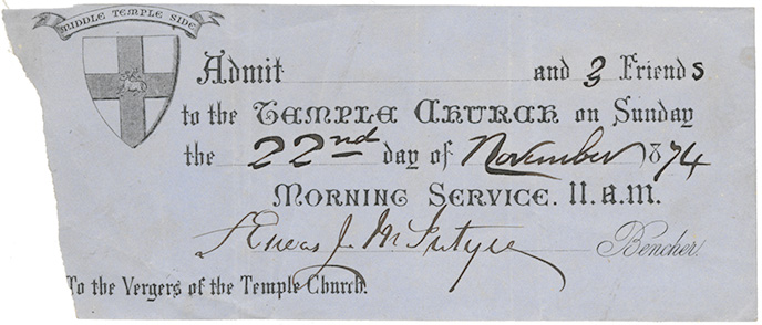 Ticket for admission to Temple Church for 11:00 a.m. service