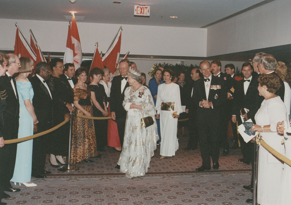 Queen Elizabeth, Prince Philip, and Prime Minister Jean and Mrs. Chretien going to dinner at The Sheraton Halifax Hotel