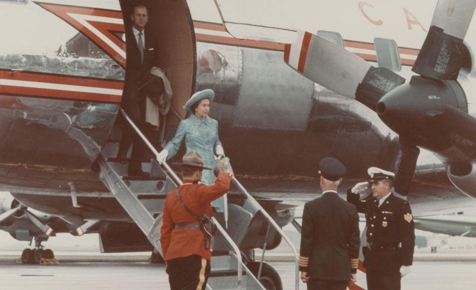 Queen Elizabeth and Prince Philip arriving at C.F.B. Greenwood