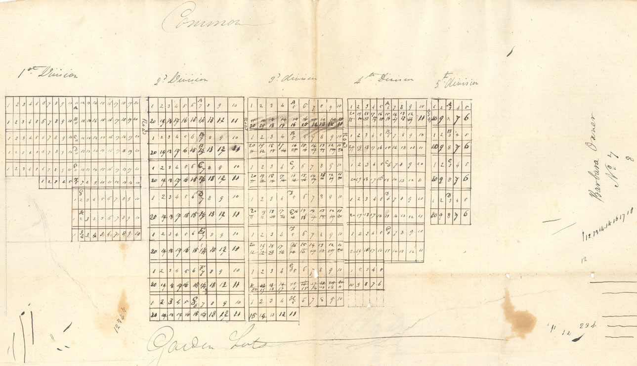 Plan of division of Garden Lots to eastward of Town of Lunenburg 1820 between Mary Glassen, Henry Heckman and Thomas Pinnel