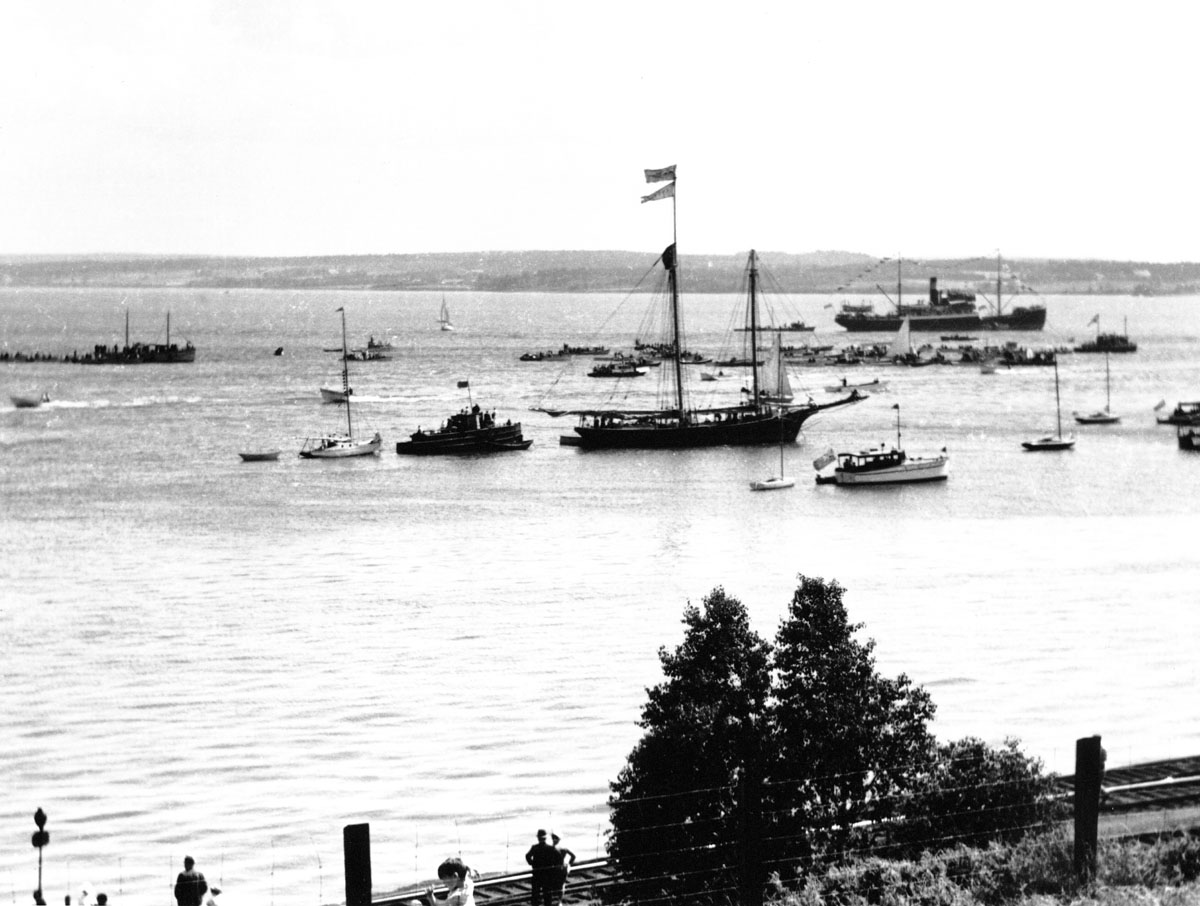 A variety of vessels decorated for celebration, Pictou Harbour