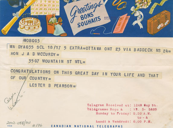 Telegram from Lester B. Pearson to the Hon. J.A.D. McCurdy