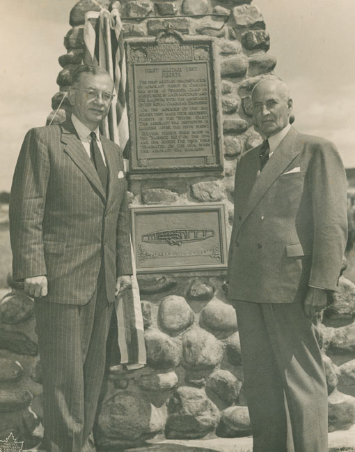 The Hon. Brooke Claxton, Minister of National Defence, and J.A.D. McCurdy at cairn commemorating