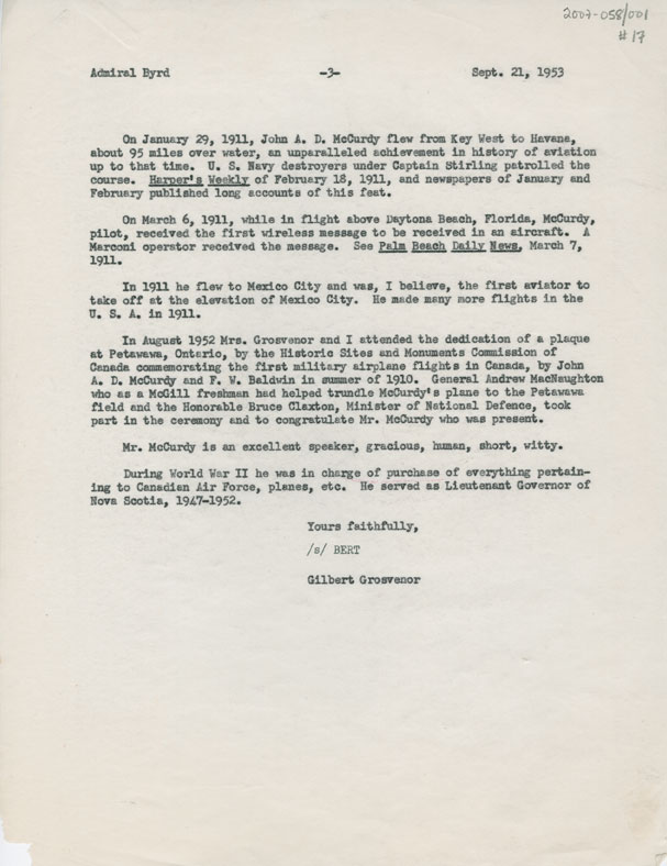 Letter from Gilbert Grosvenor, National Geographic Society, to Admiral Richard E. Byrd, Boston